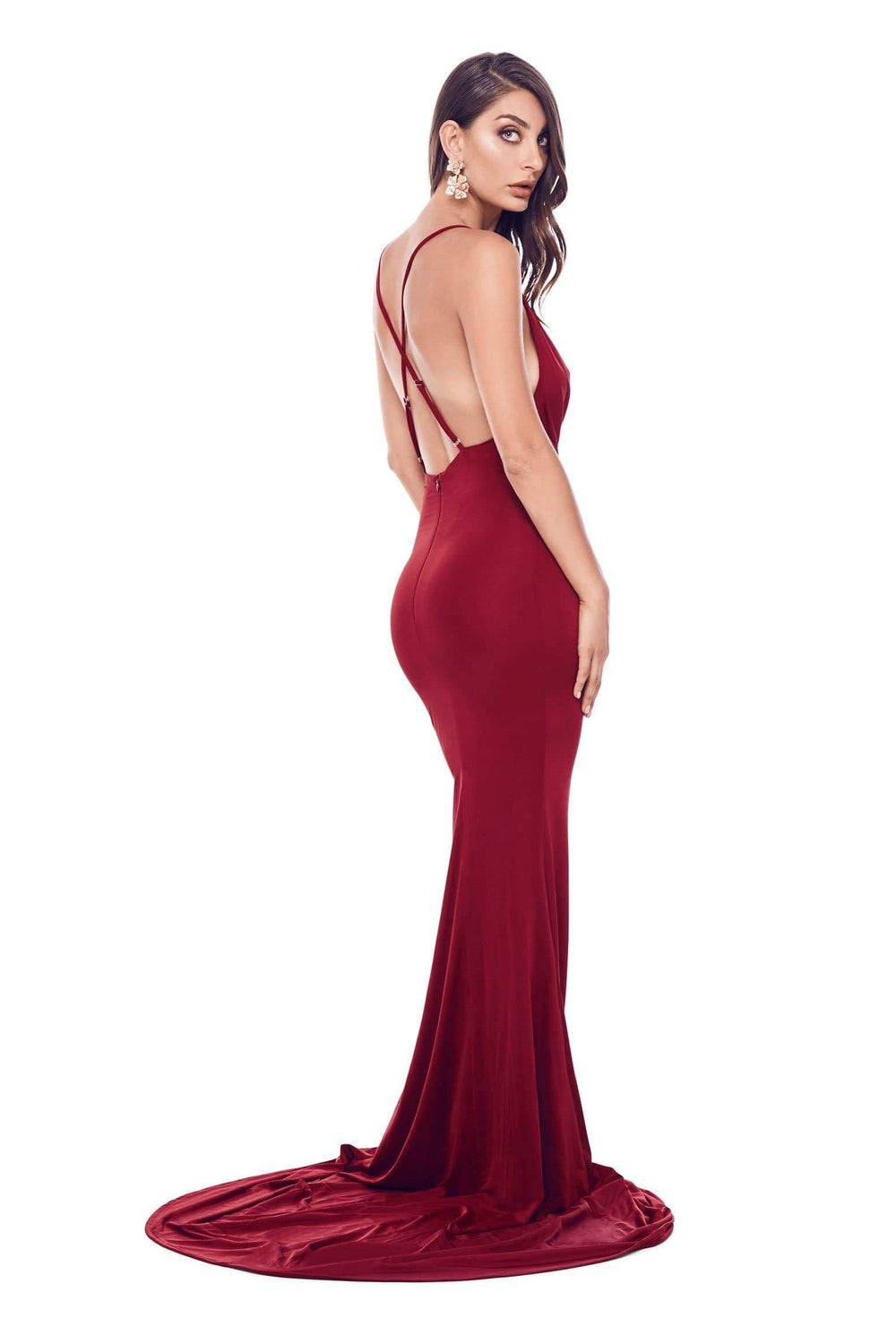 Antonia - Wine Red Jersey Gown with Cowl Neckline and Low Back