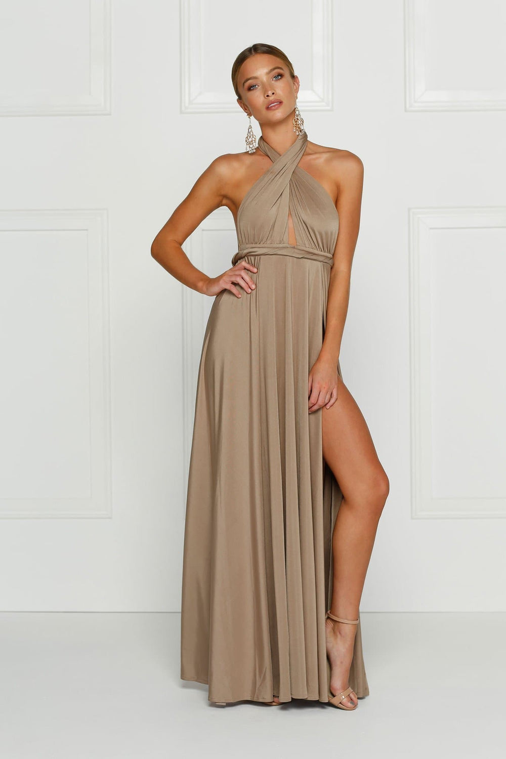 Catalina - Bronze Backless Jersey Gown with Plunge Neck & Side Slits