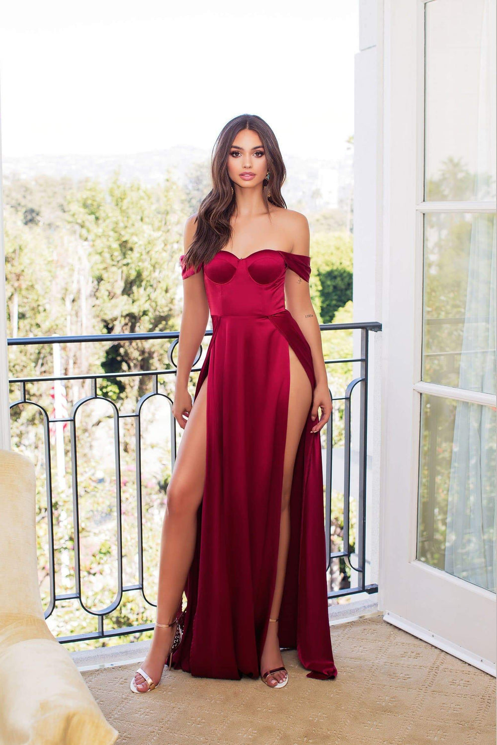 Dominikia - Deep Red Satin Gown with Off-Shoulder Drapes & Side Slits