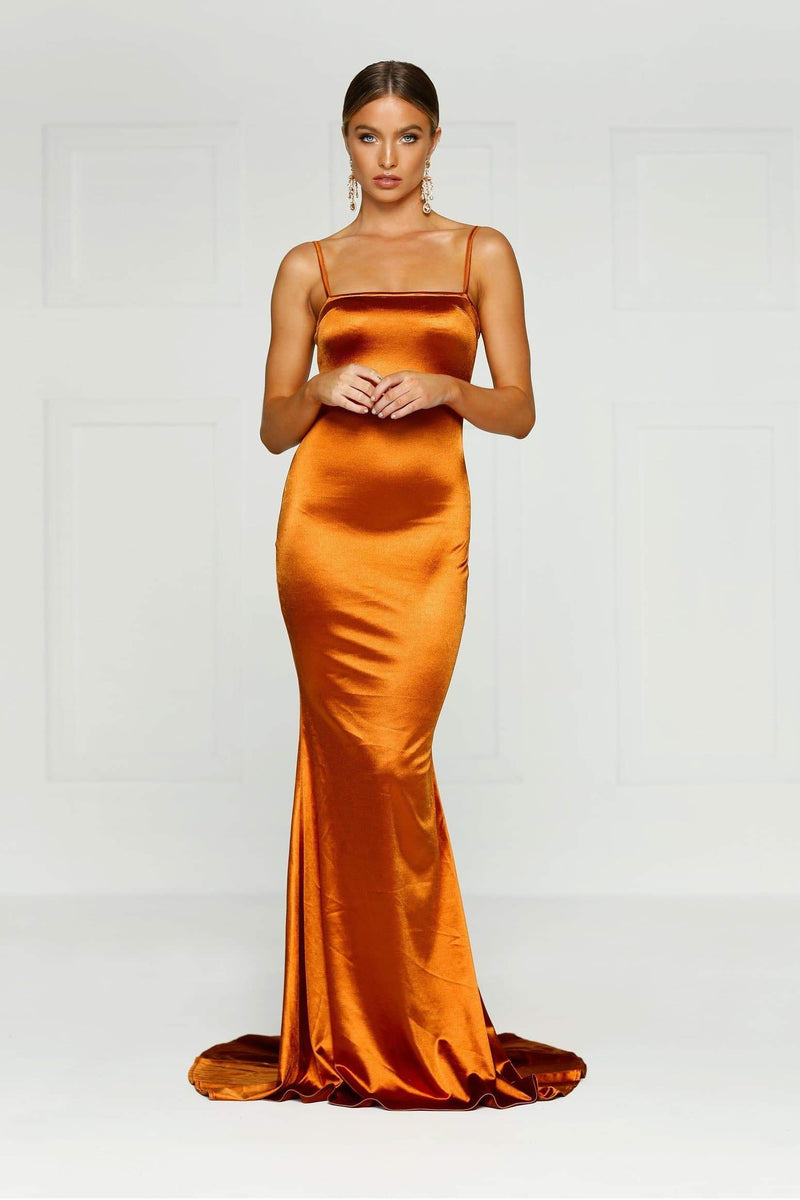 Lesiya - Golden Rust Sleeveless Satin Gown with Mermaid Train