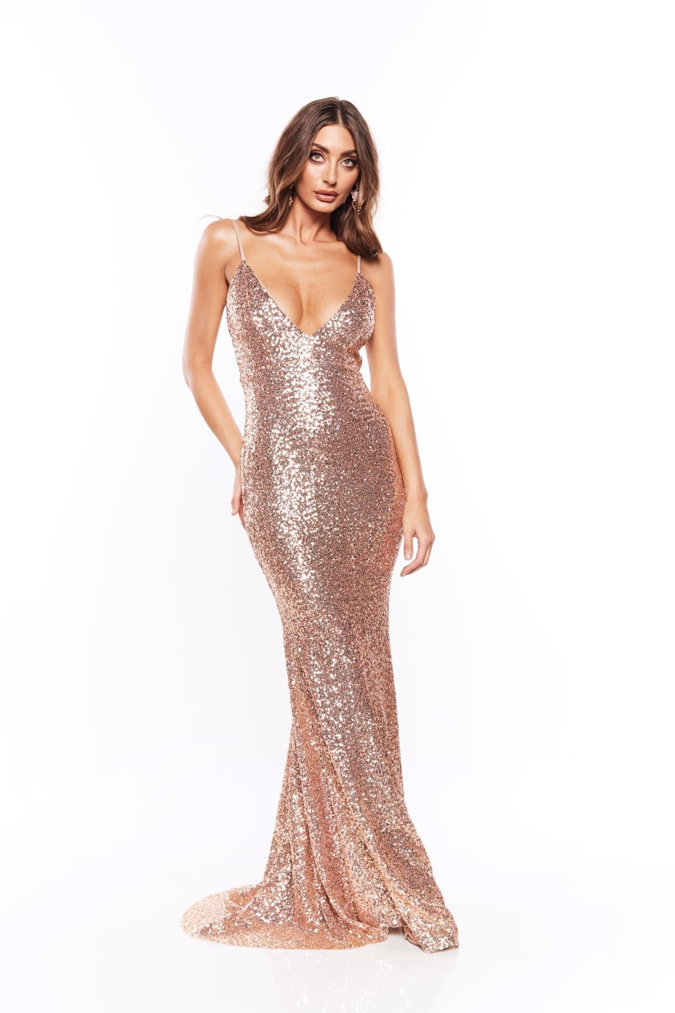 Farah - Rose Gold Sequins Gown with Scoop Back