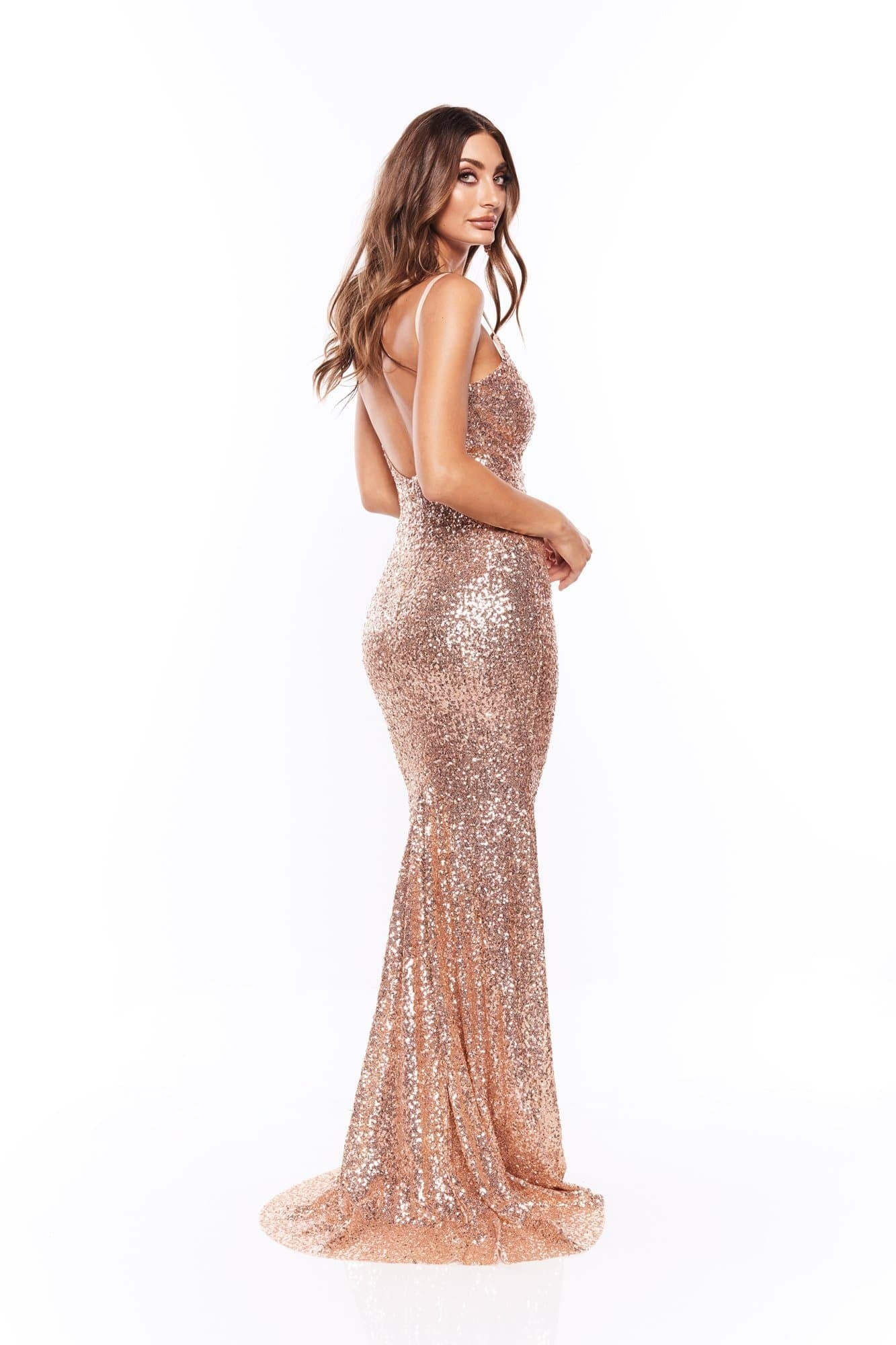 Farah - Rose Gold Sequins Gown with Scoop Back Pre Order End August