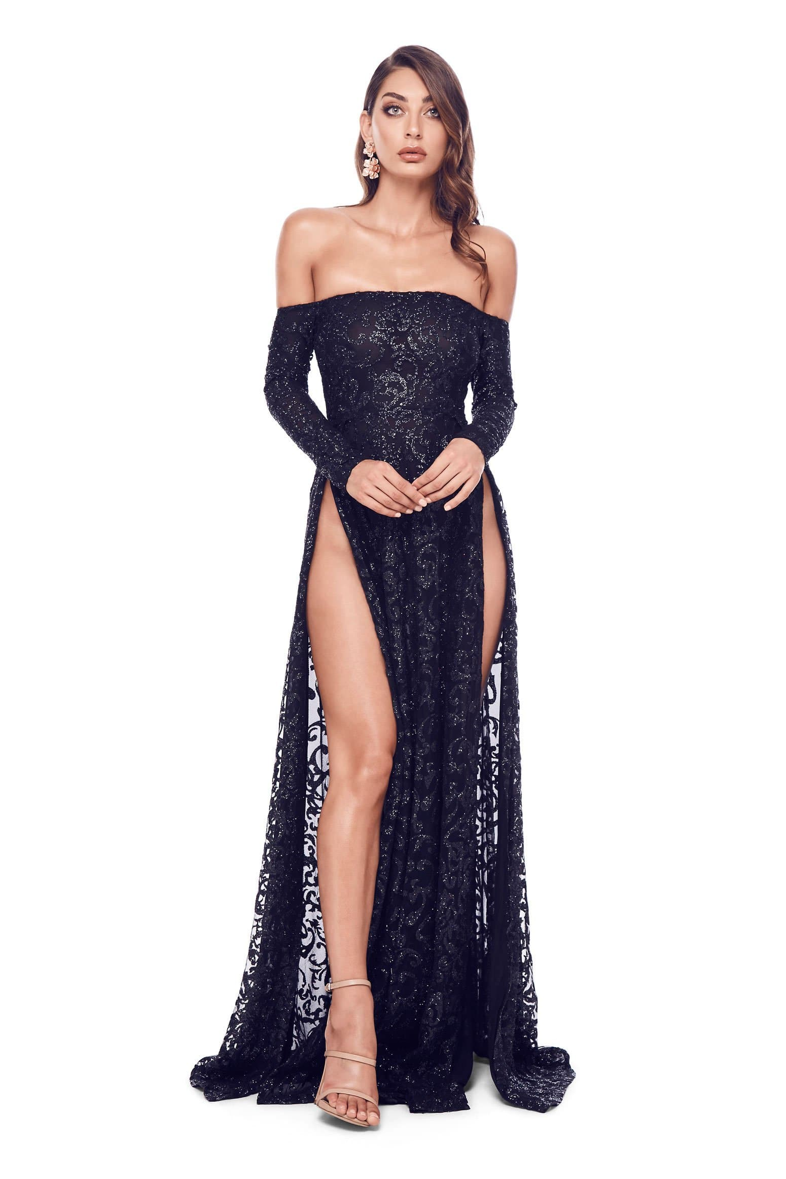 Flame Gown - Black Glitter Sheer Off Shoulder Long Sleeves Slits Dress