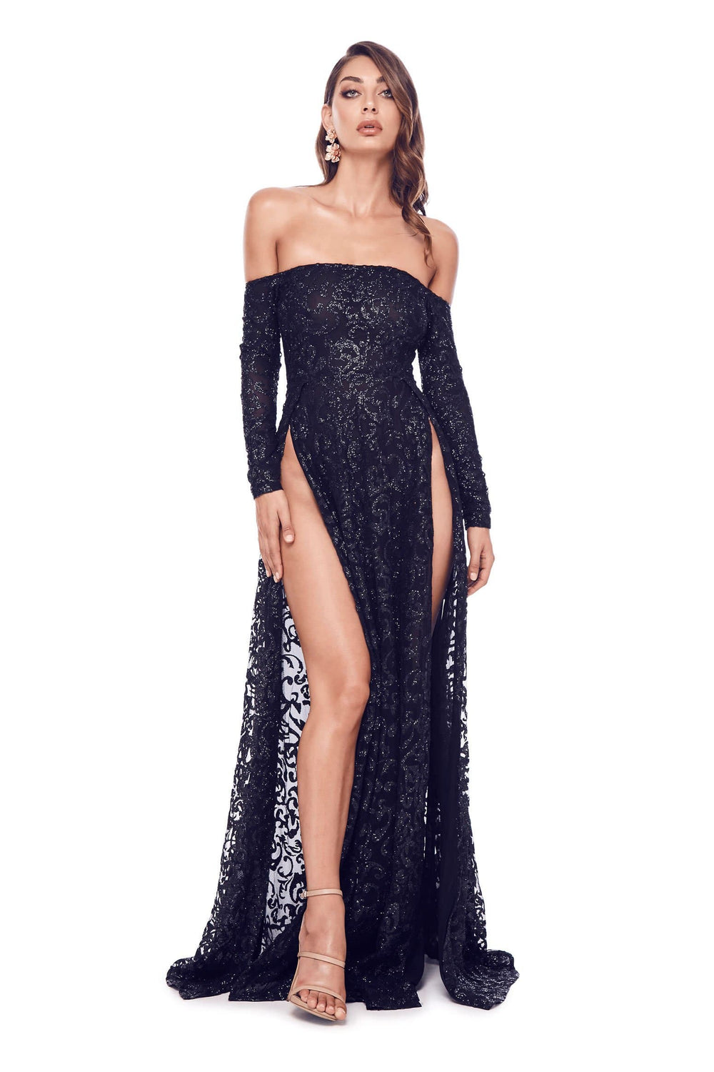 Flame - Black Glitter Gown with Long Off-Shoulder Sleeves