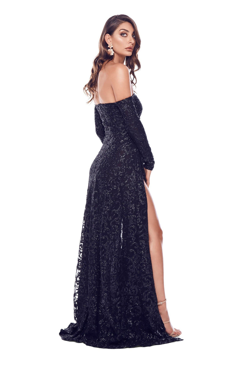 5987c565ed9fc9 Flame - Black Glitter Gown with Long Off-Shoulder Sleeves