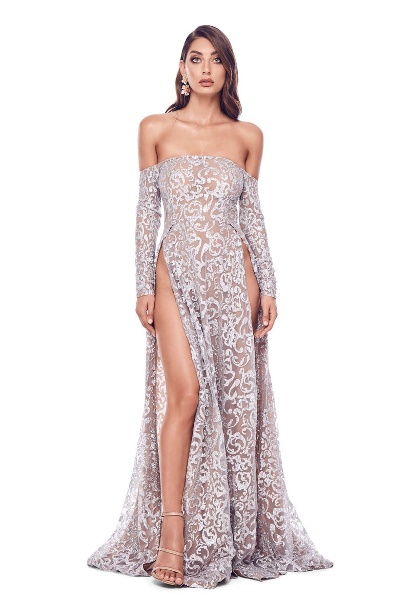 Flame - Silver Glitter Gown  a7c3d62bd