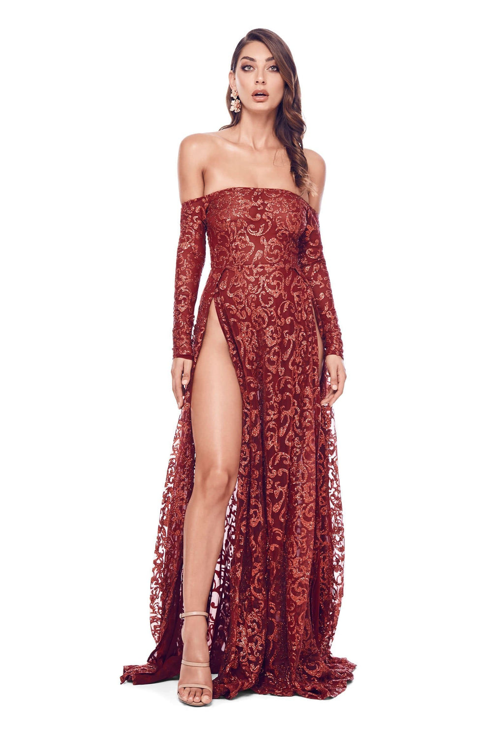 Flame - Wine Red Glitter Gown with Long Off-Shoulder Sleeves