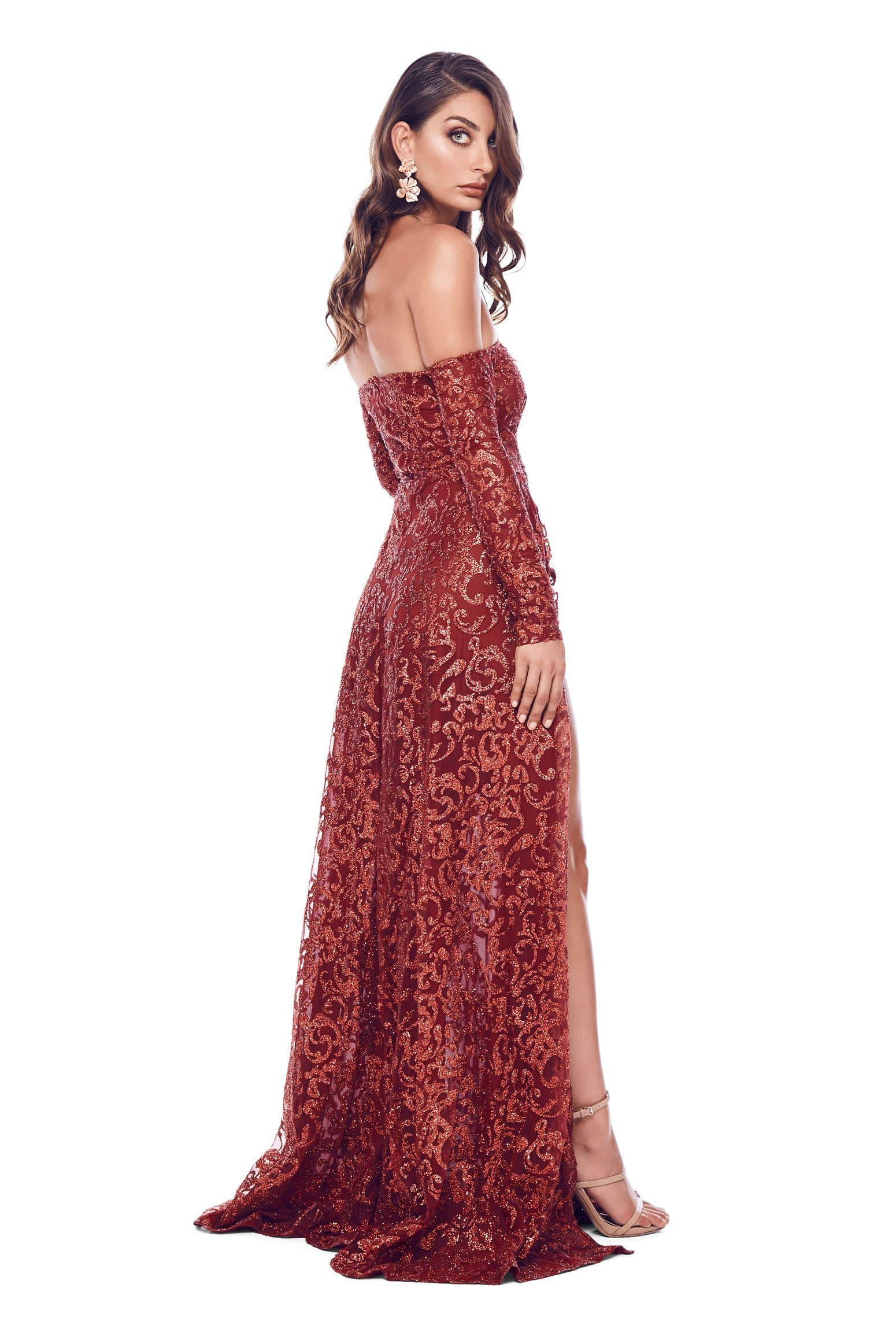 Flame - Wine Red Glitter Gown with Long Off-Shoulder Sleeves 94ada6153