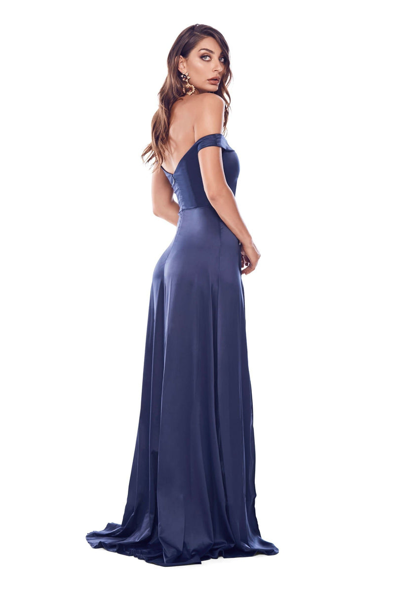 Florentina - Navy Satin Off Shoulder Gown with Thigh High Side Slits