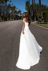 Florentina - White Satin Gown with Off-Shoulder Straps & Side Slits