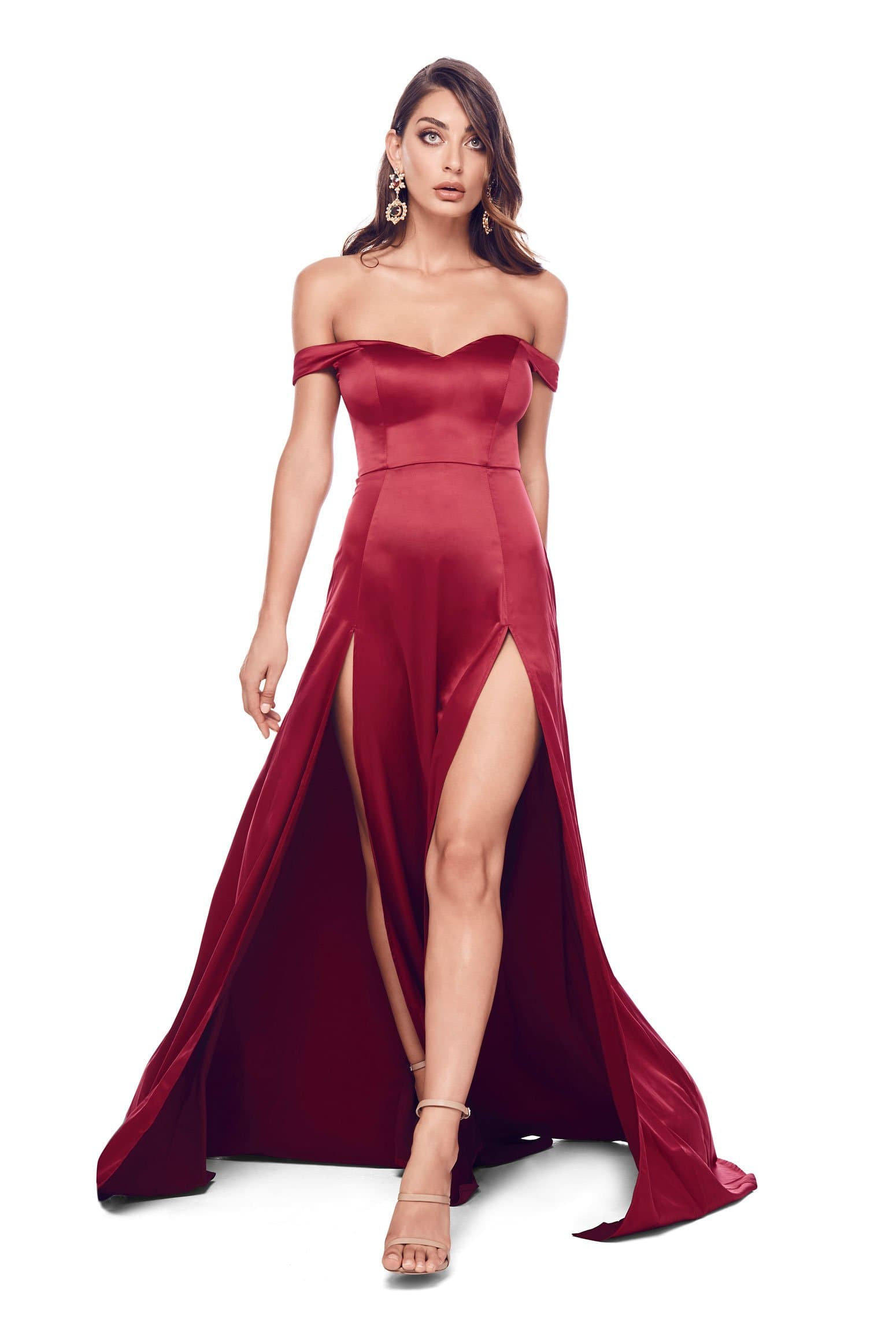 Florentina - Wine Red Satin Sweetheart Off Shoulder Two Split Gown
