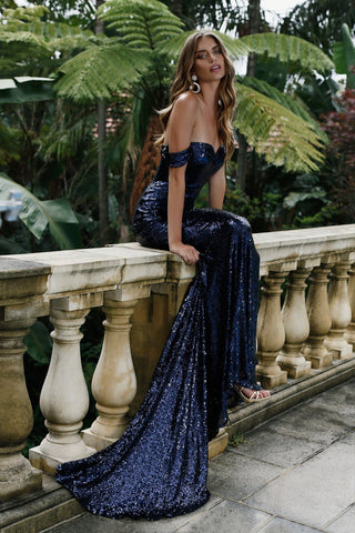Jonquille Sequins Gown - Rich Navy
