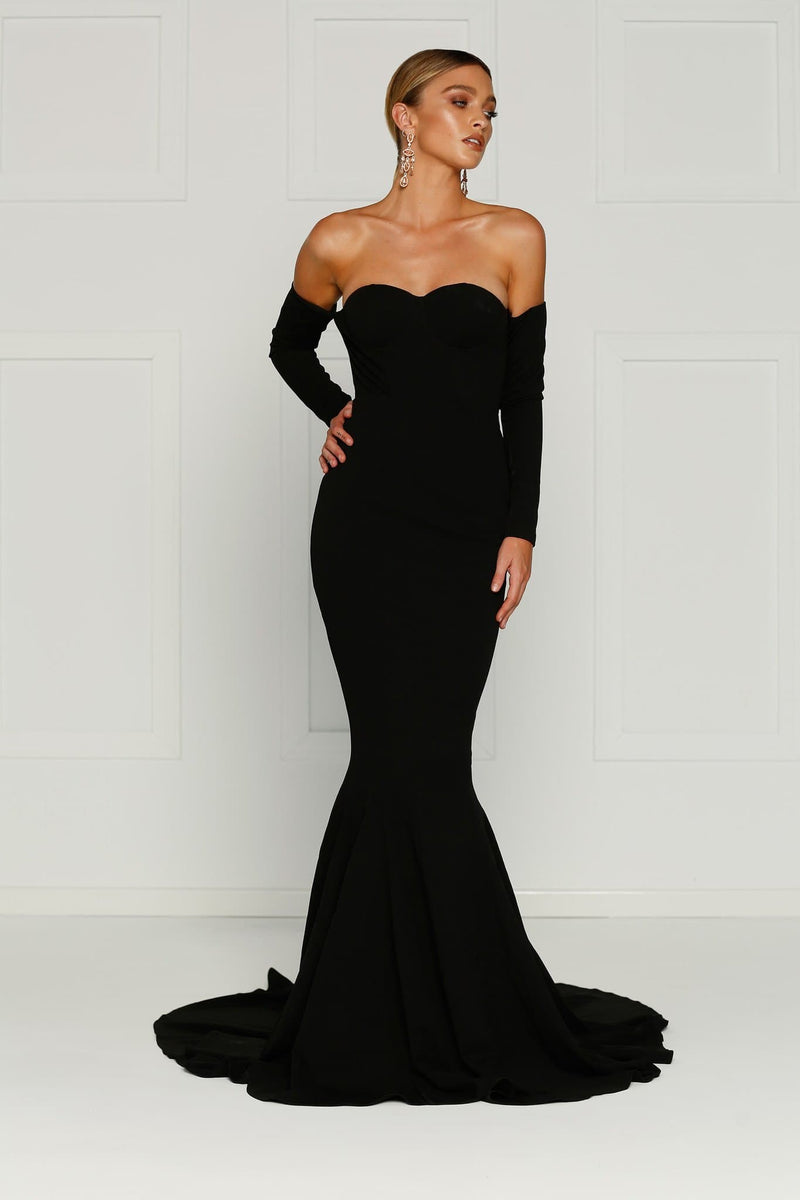 Salma - Black Crepe Long Sleeve Off Shoulder Gown with Mermaid Train