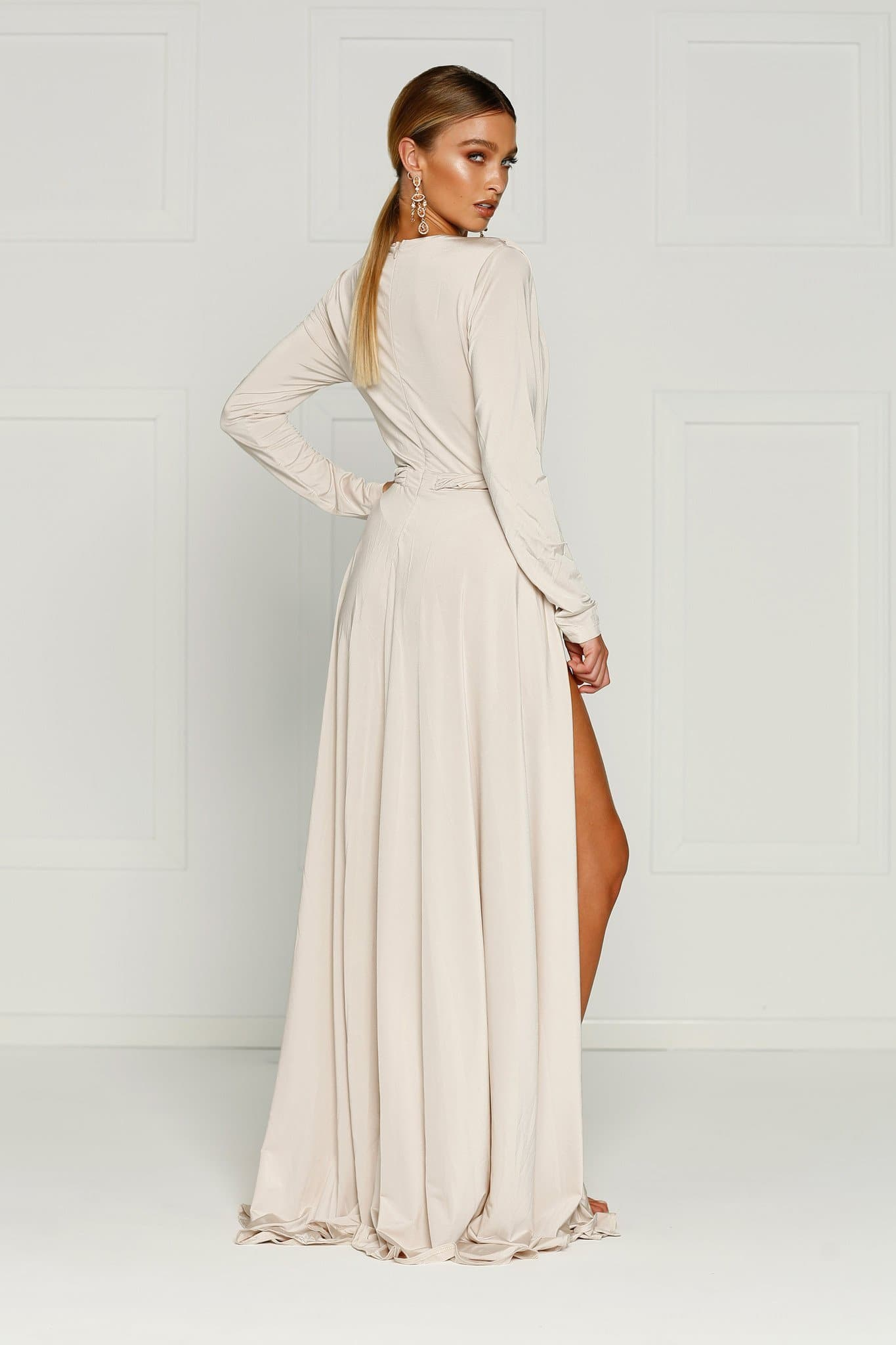 Sahara Gown - Oyster Jersey Long Sleeve Deep Plunge Slits Dress
