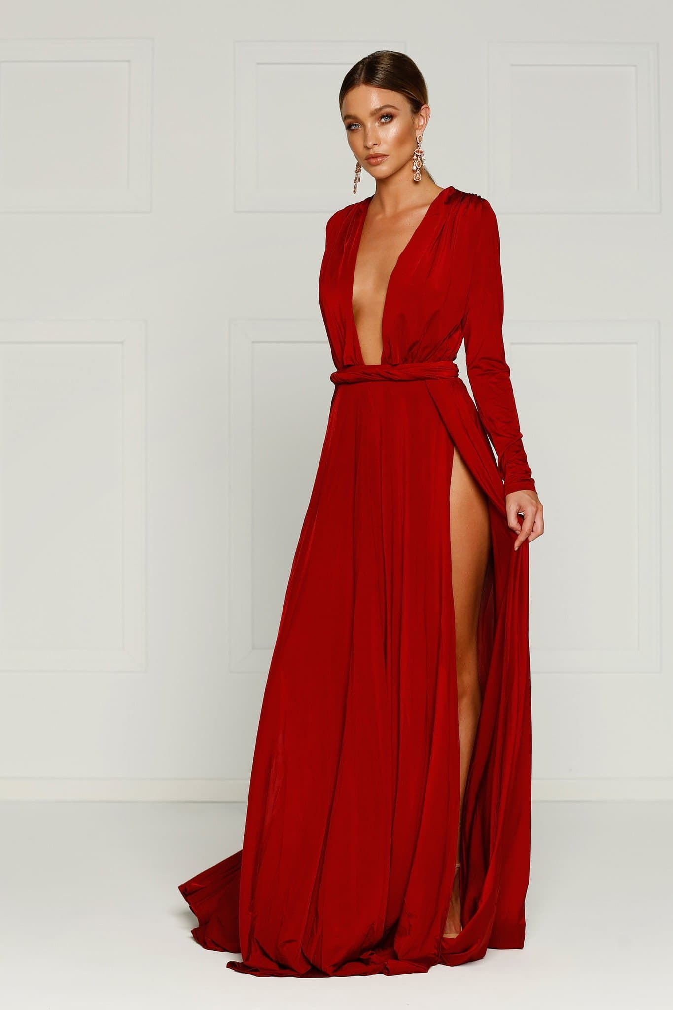 Sahara Gown - Wine Red Jersey Long Sleeve Deep Plunge Slits Dress
