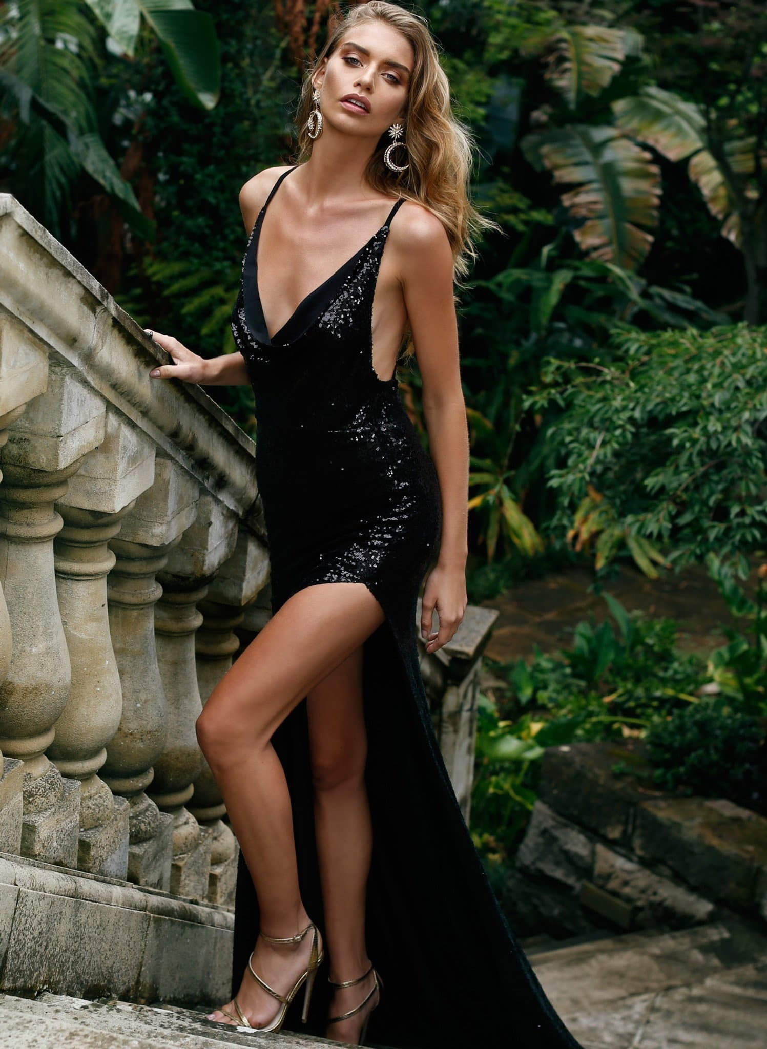 Andriana Gown -Black Sequins Low Back Dress with Cowl Neckline & Slit