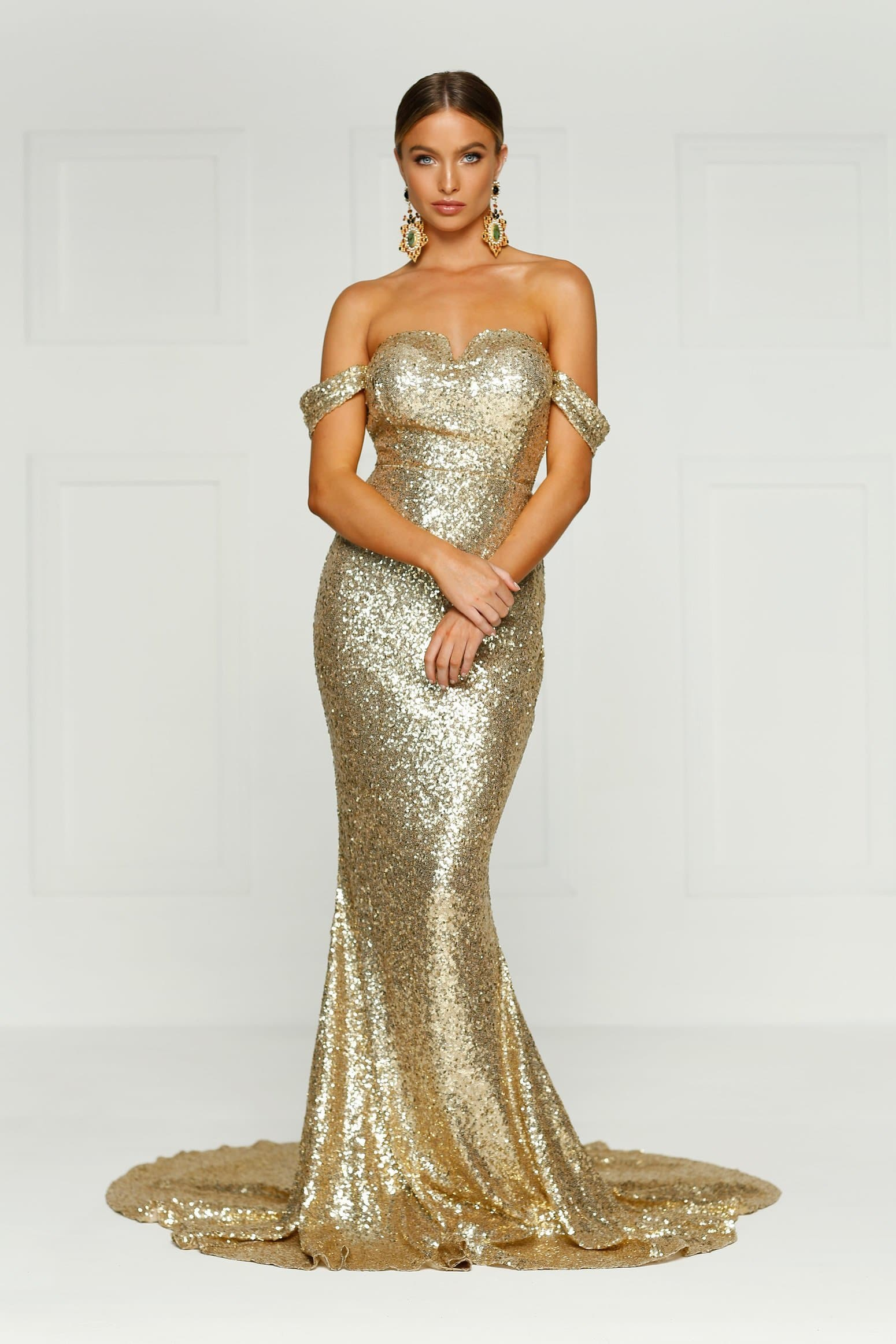 Jonquiller Sequins Gown - Gold Evening Dress with Mermaid Train