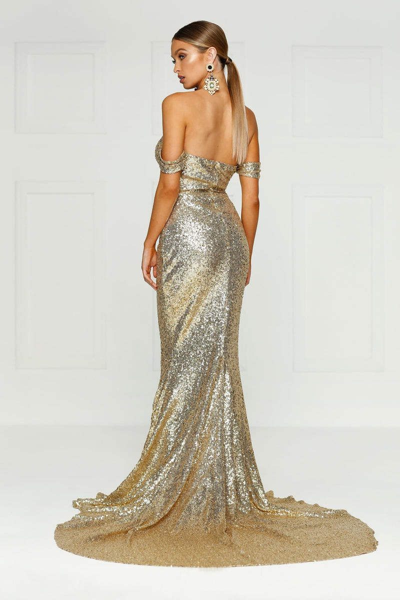 Jonquille - Gold Sequin Gown with Off-Shoulder Straps & Mermaid Train
