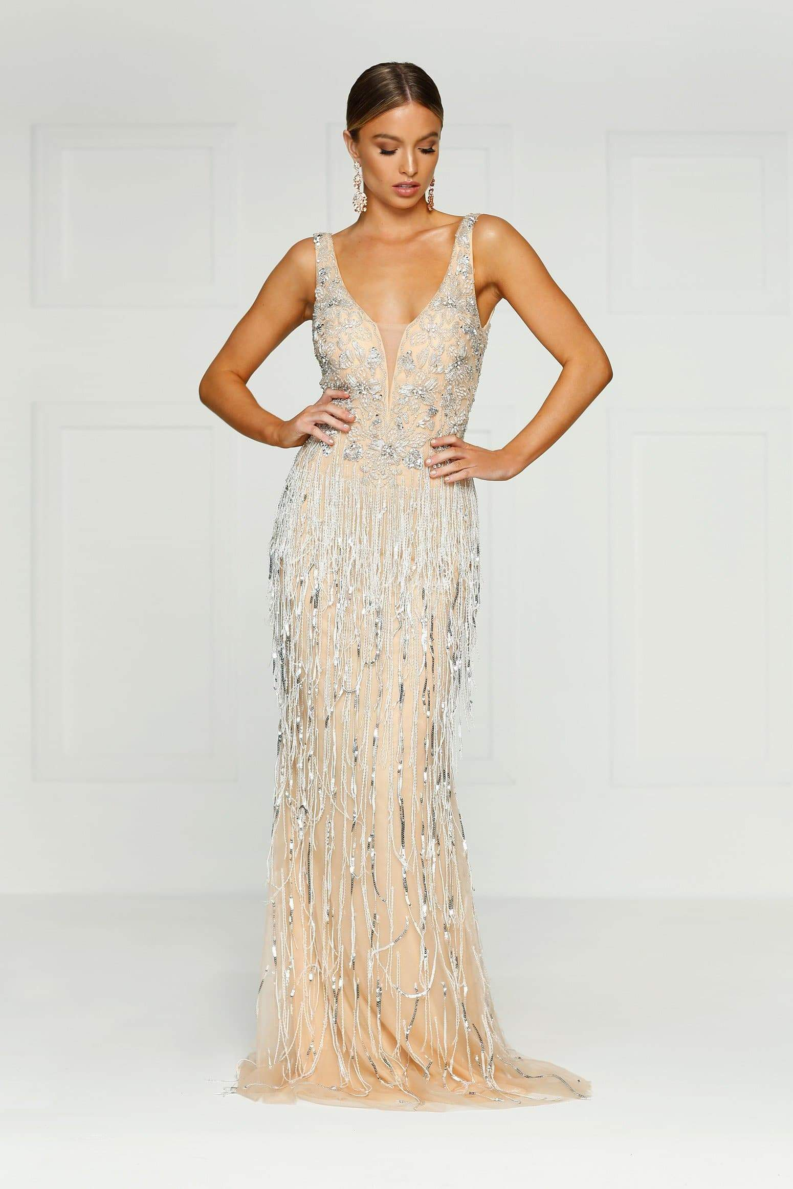 d2a2b9e6080 ... Queen of Jewels Gown - Champagne Mesh V Neck Beaded Mermaid Dress ...