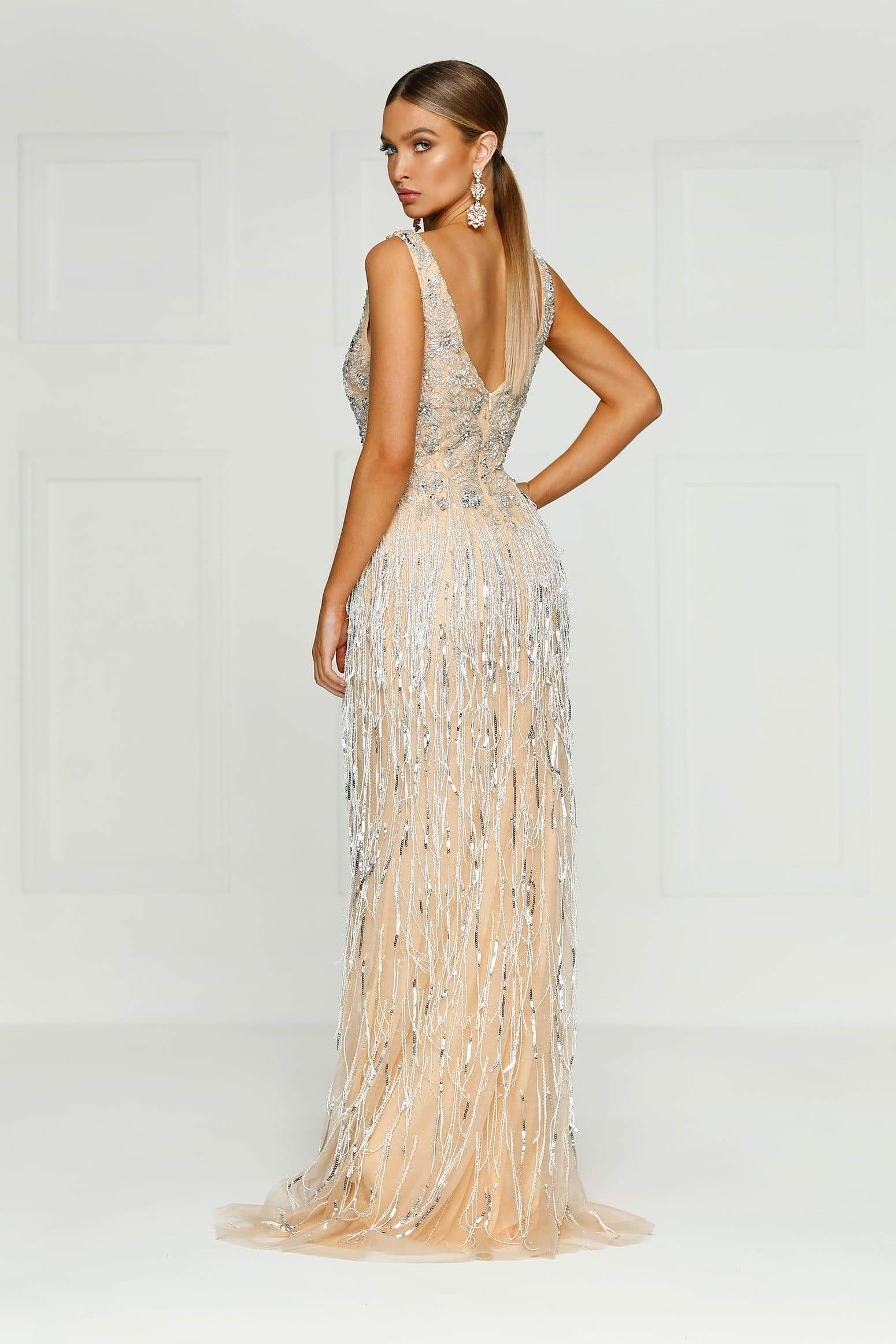 Queen of Jewels Gown - Champagne Mesh V Neck Beaded Mermaid Dress