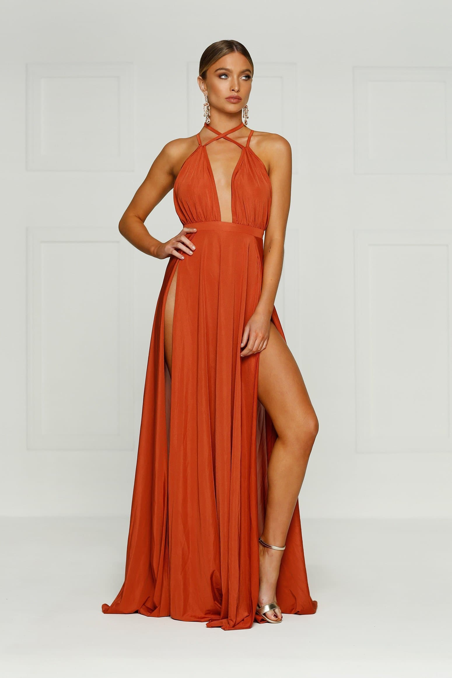 Stella Gown - Rust Evening Dress with V Neckline & Two Front Splits