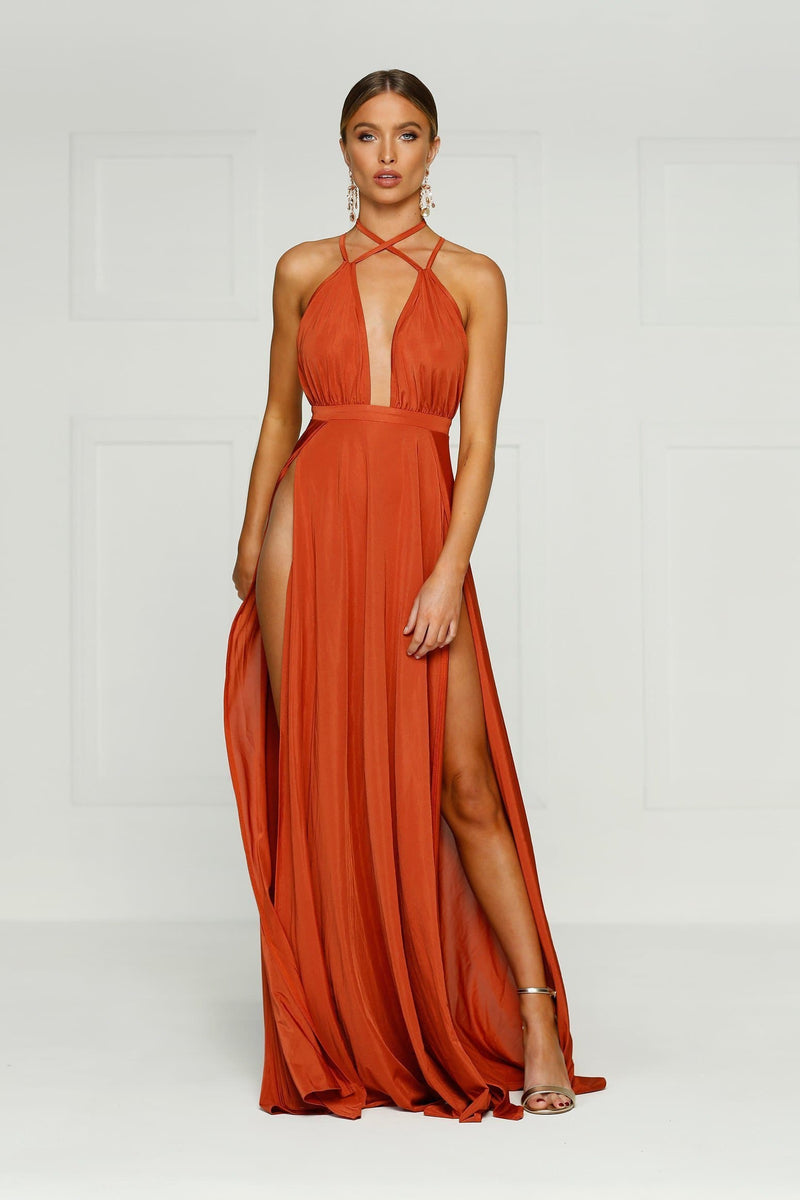 Stella - Rust Jersey Gown with Plunge Neckline, Low Back & Side Slits