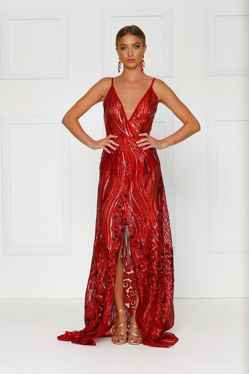 Lacrecia - Sheer Red Sequin Gown with Plunge Neckline & Side Slit