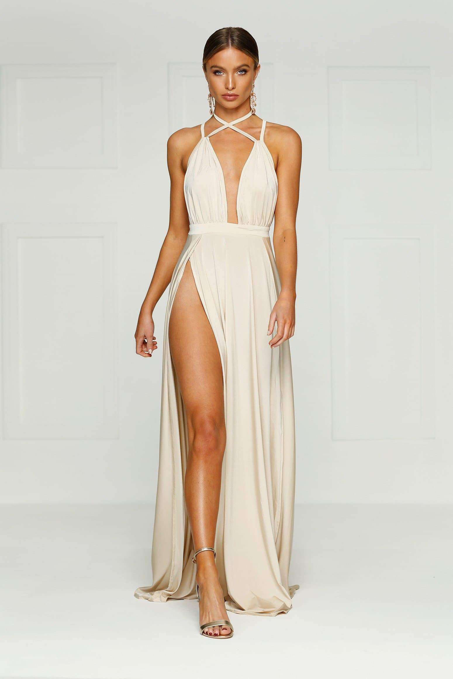 Stella Gown - Oyster Jersey V Neck Criss Cross Low Back Slits Dress