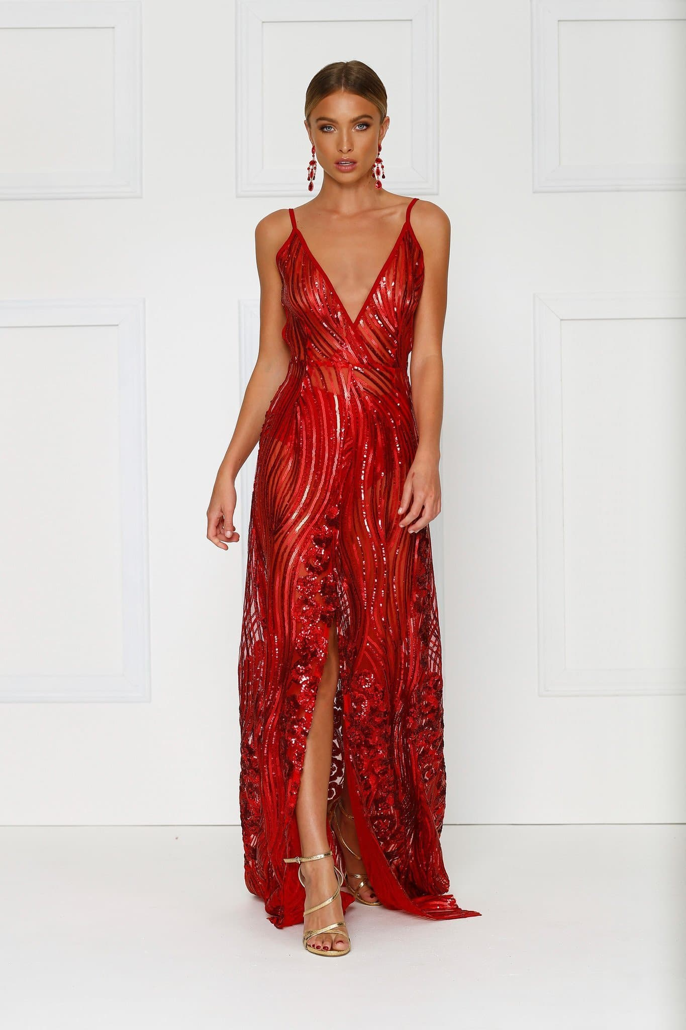 f79d45f7 Lacrecia - Sheer Red Sequin Gown with Plunge Neckline & Side Slit