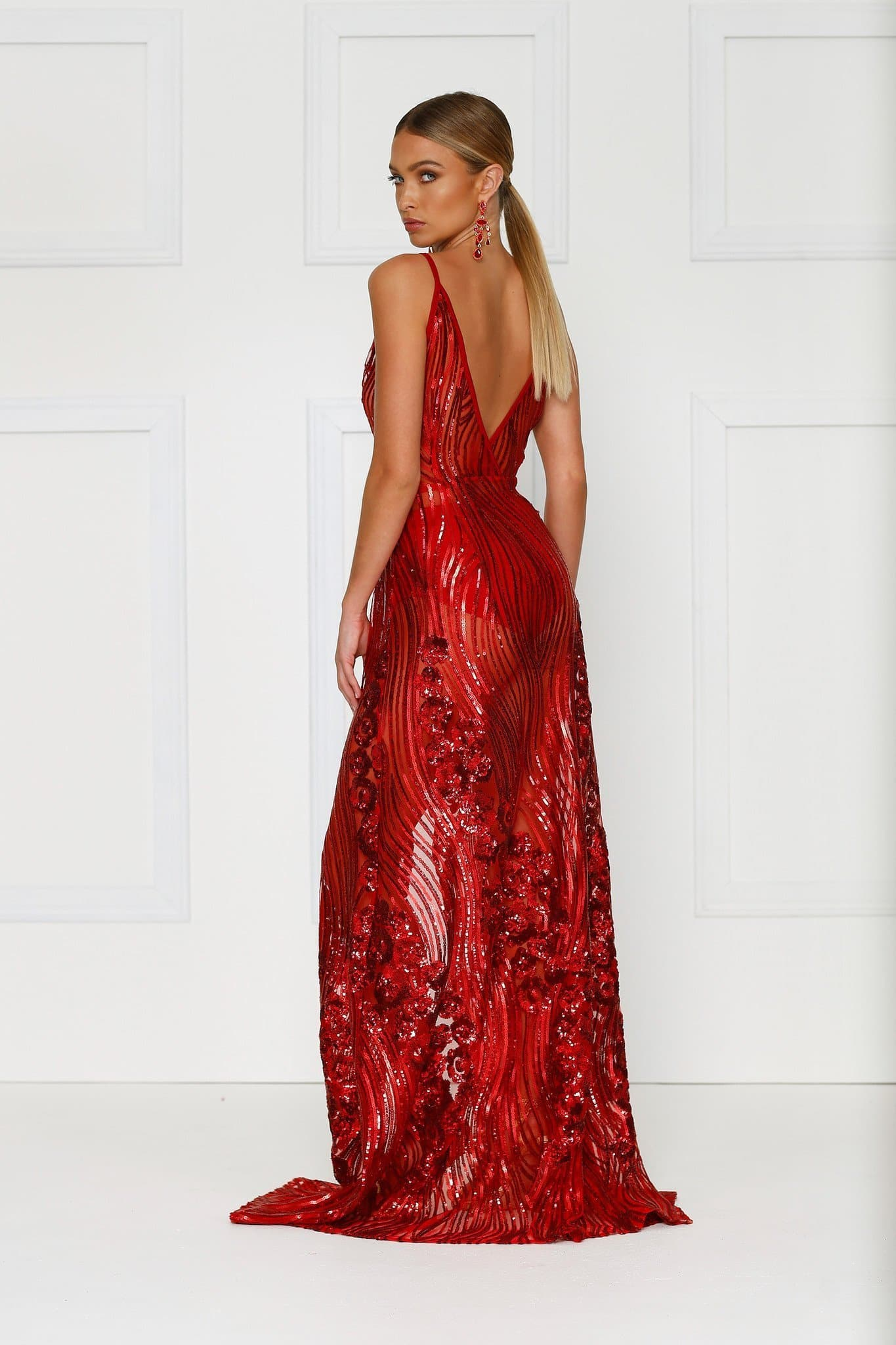 Lacrecia Gown - Red Sheer Sequin V-Neck Front Slit Mermaid Dress