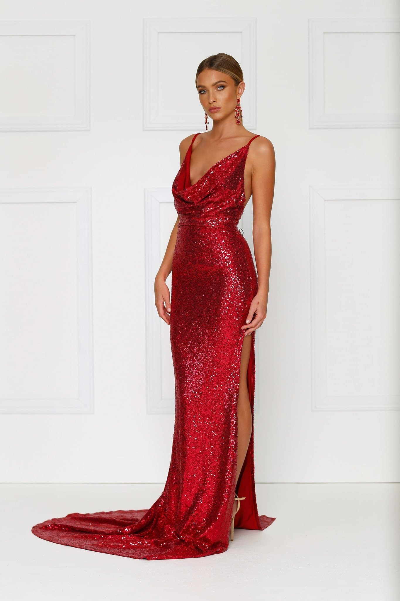 Andriana Wine Red Sequin Gown Cowl Neckline Low Back