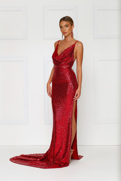 Andriana - Wine Red Sequin Gown | Cowl Neckline, Low Back