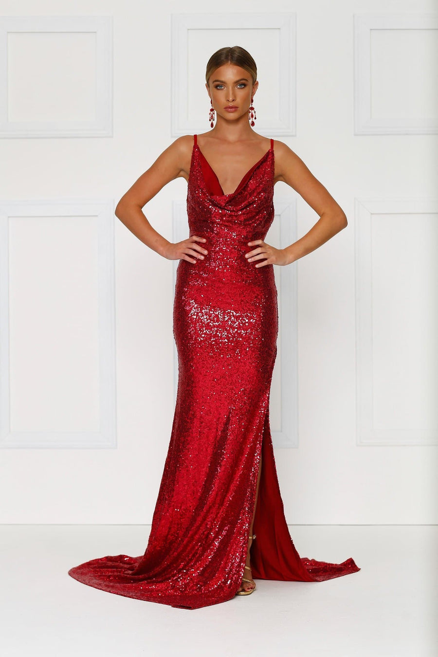 Red Sequins Evening Gown Cowl neckline side leg split, plunging back Alamour The Label