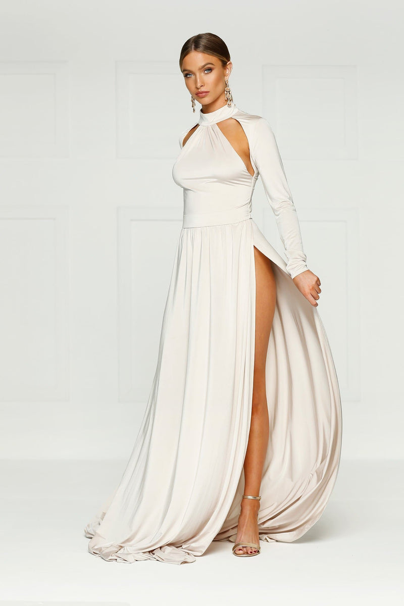 Liliya - Oyster High Neck Gown | Long Sleeves, Open Back & Side Slits