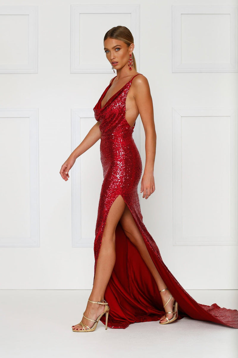 Andriana - Wine Red Sequin Gown | Cowl Neckline, Low Back & Side Slit
