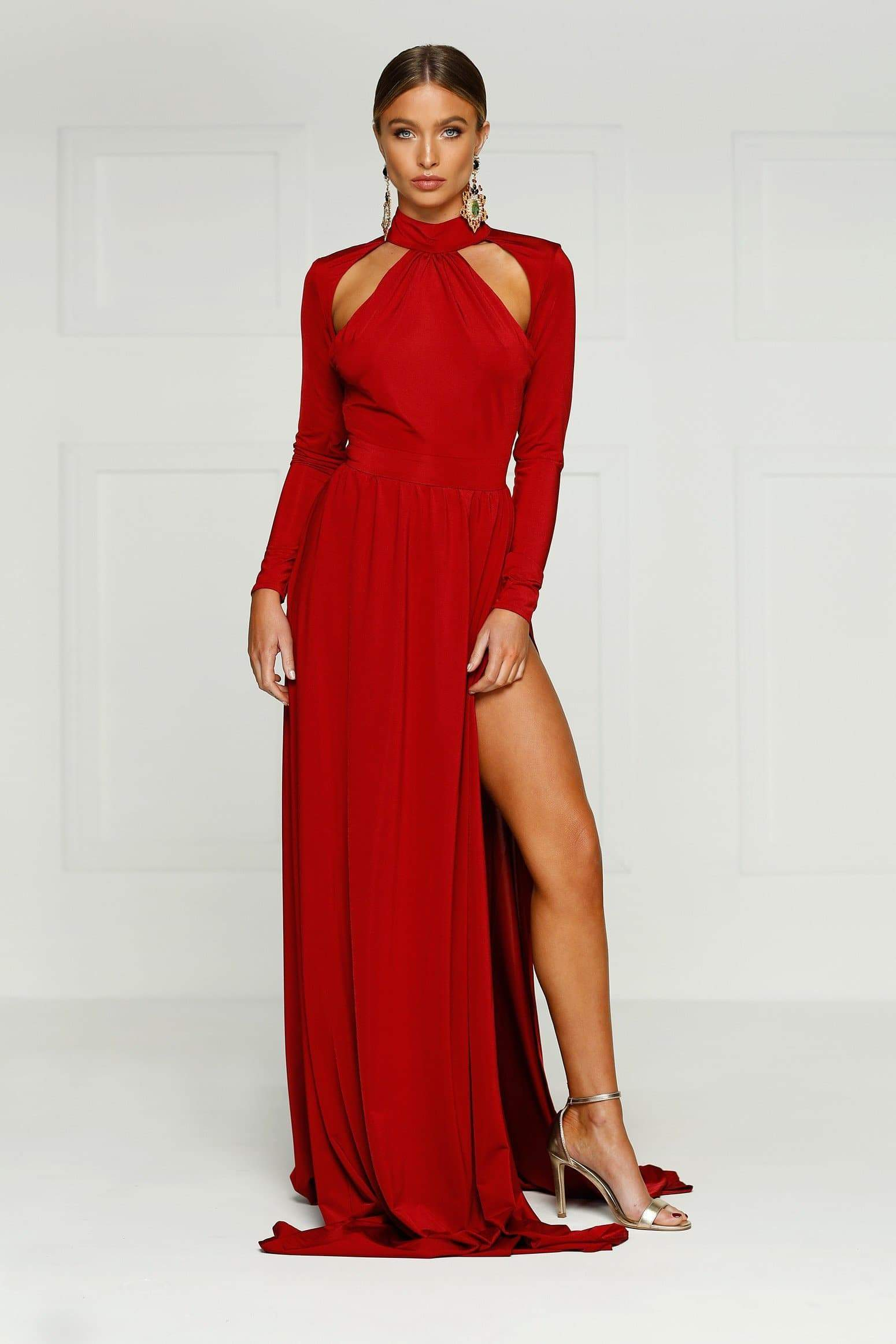 Liliya Gown - Red High Neck Dress with Thigh High Splits & Cut-Outs