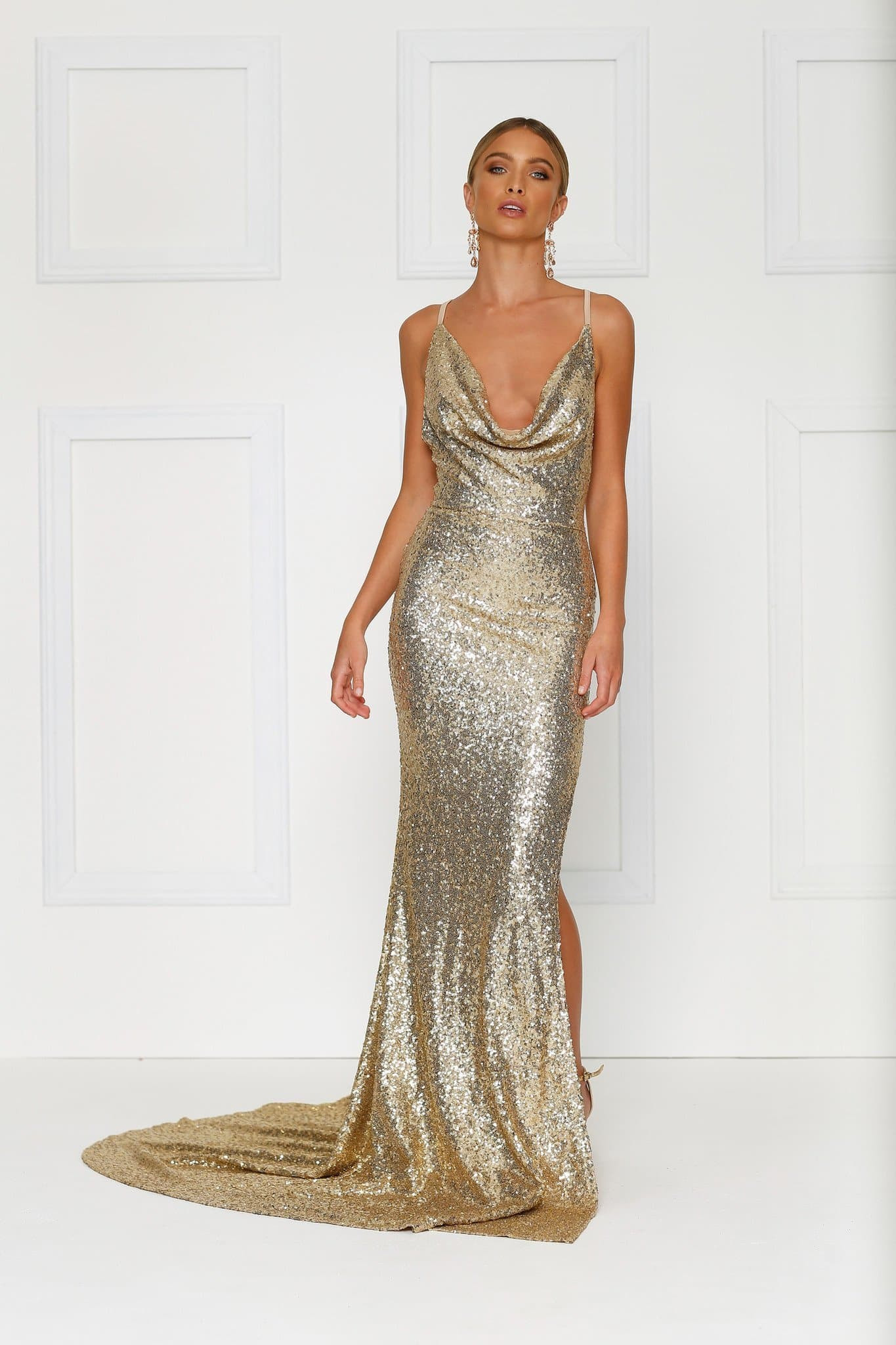 Andriana Gown - Gold Sequins Low Back Dress with Cowl Neckline & Slit