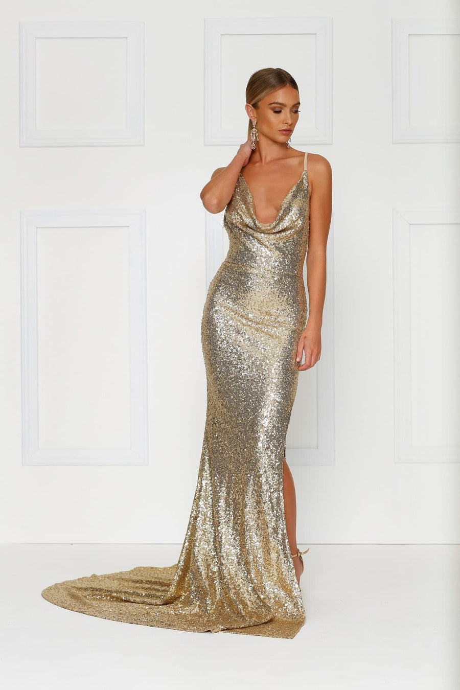 Gold Sequins Evening Gown Cowl neckline side leg split, plunging back Alamour The Label
