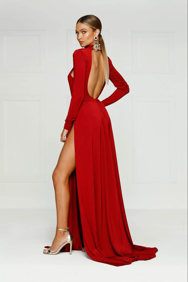 Liliya - Red High Long Sleeve Gown with High Neckline & Side Slits