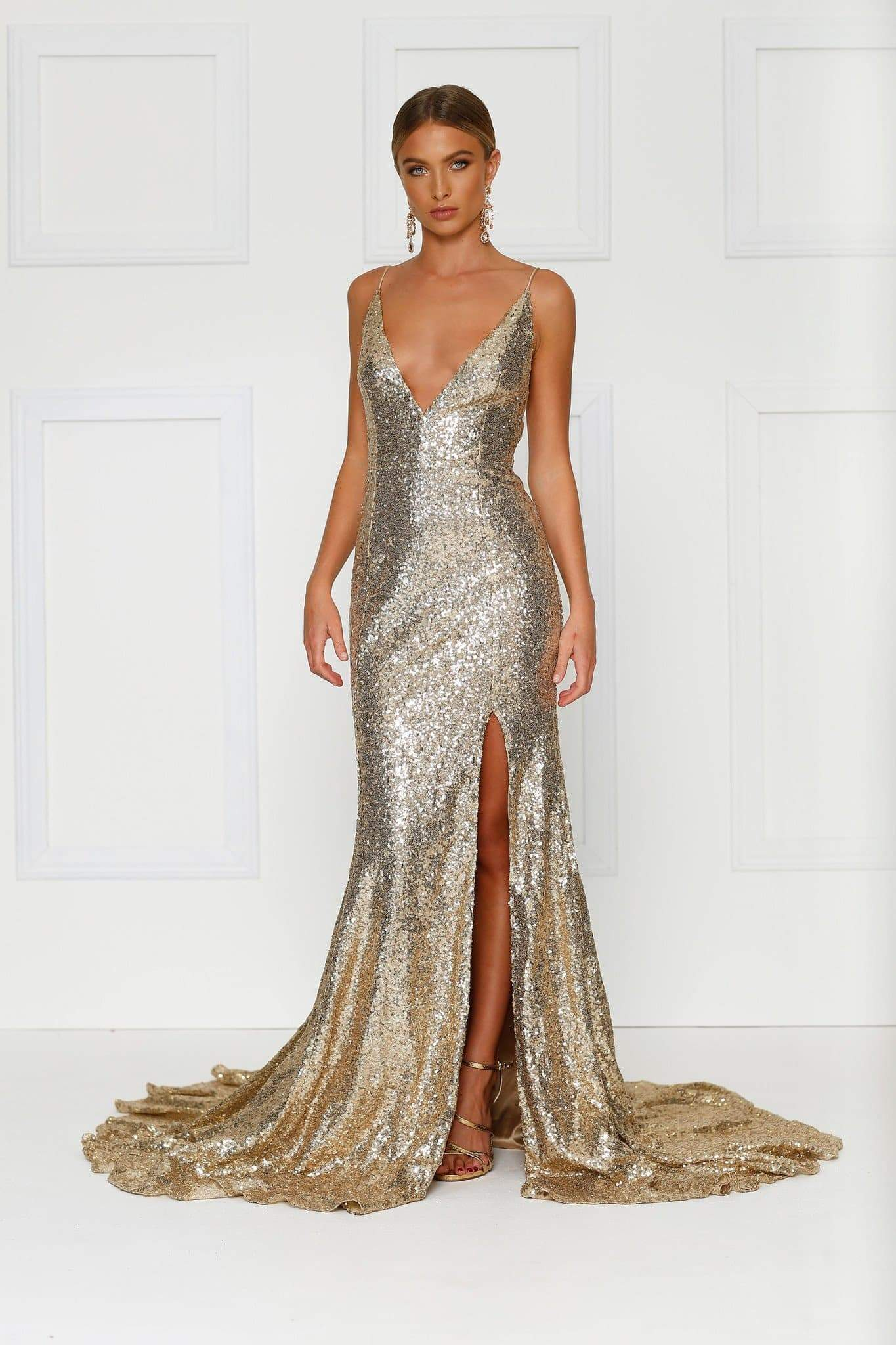 Armanah Sequin Mermaid Gown - Gold Prom Dress with Side Split