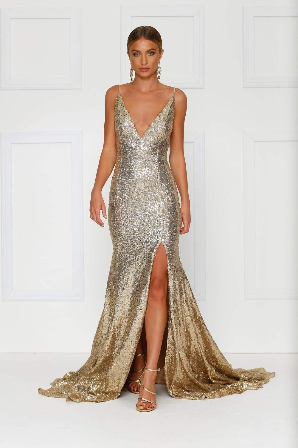 Armanah - Gold Sequin Gown with Plunge Neckline, Low Back & Side Slit