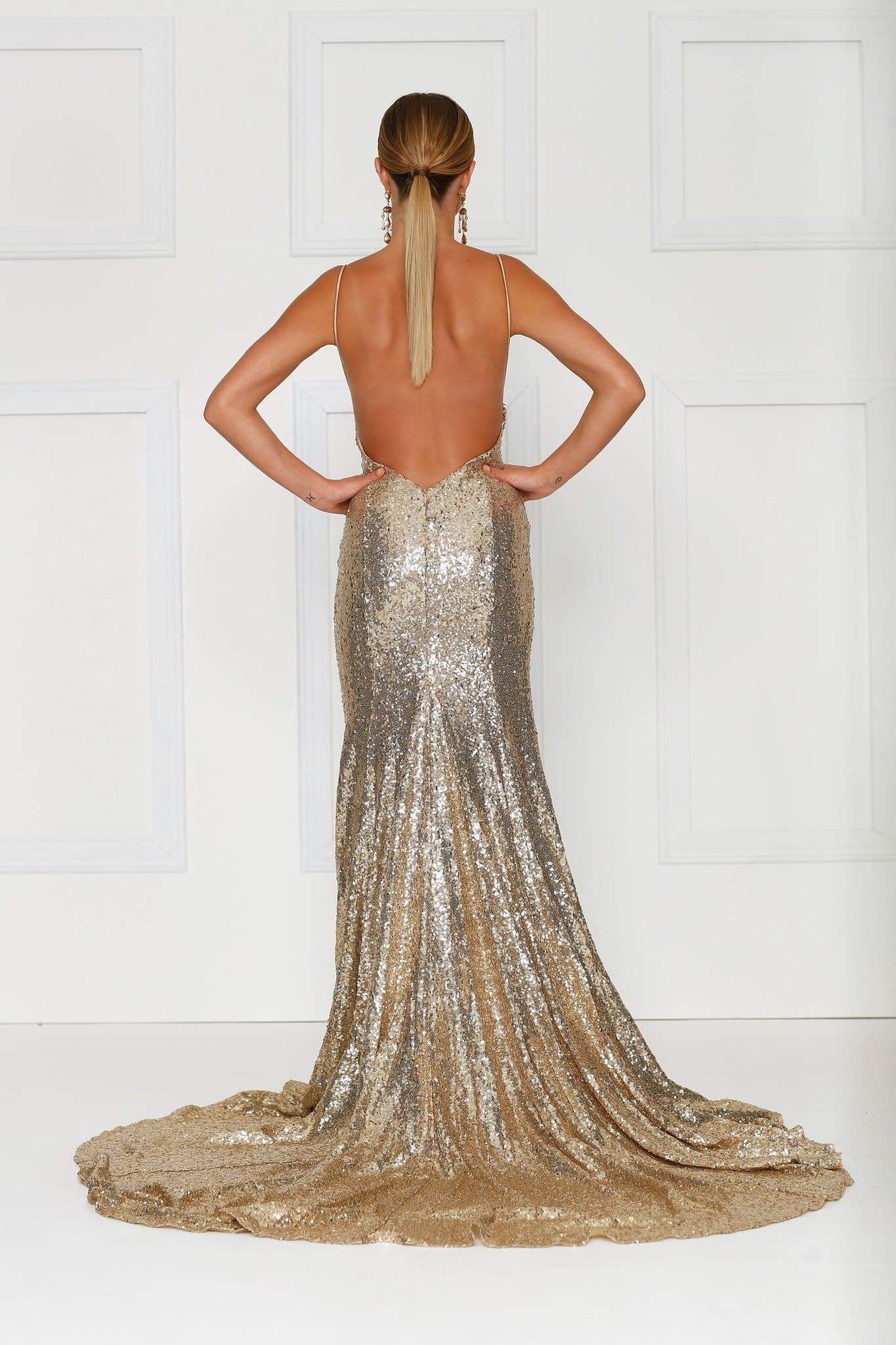 Armanah Gold Sequin Gown With Plunge Neckline Low Back