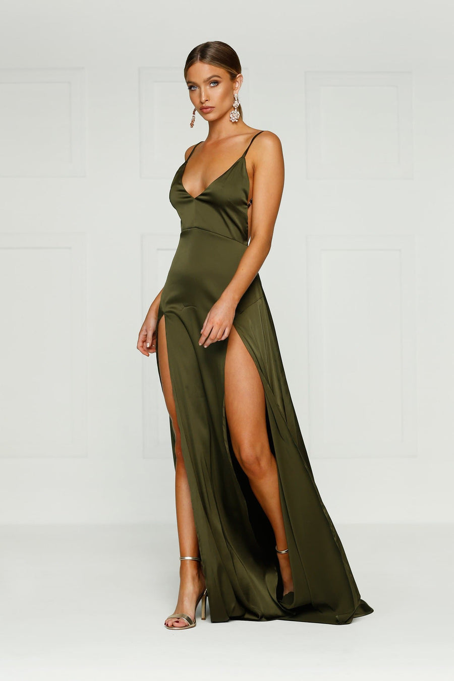 Alexis Khaki satin sexy formal dress low back leg splits v-front