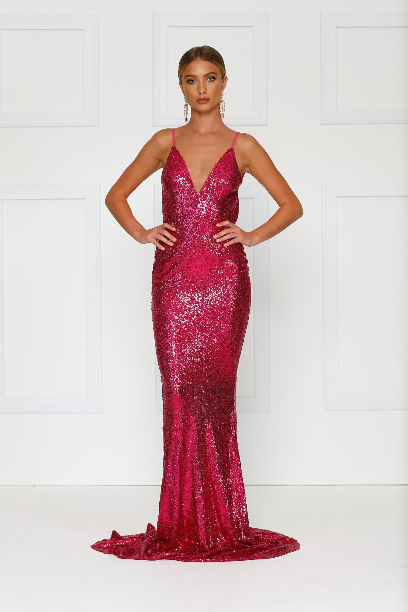 Yassmine Gown - Hot Pink Sequin V Neck Open Back Fitted Mermaid Dress