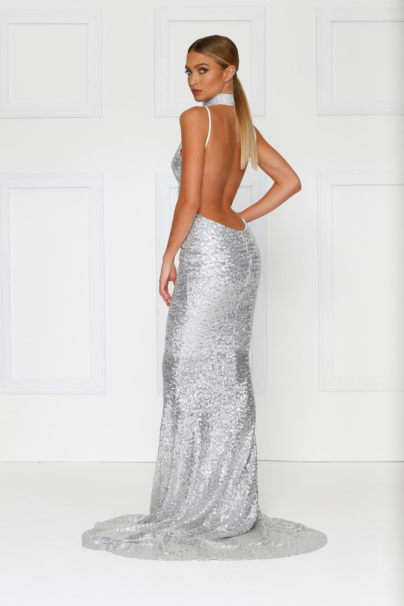 Yassmine Mermaid Gown - Silver V Neck Dress with Spaghetti Straps