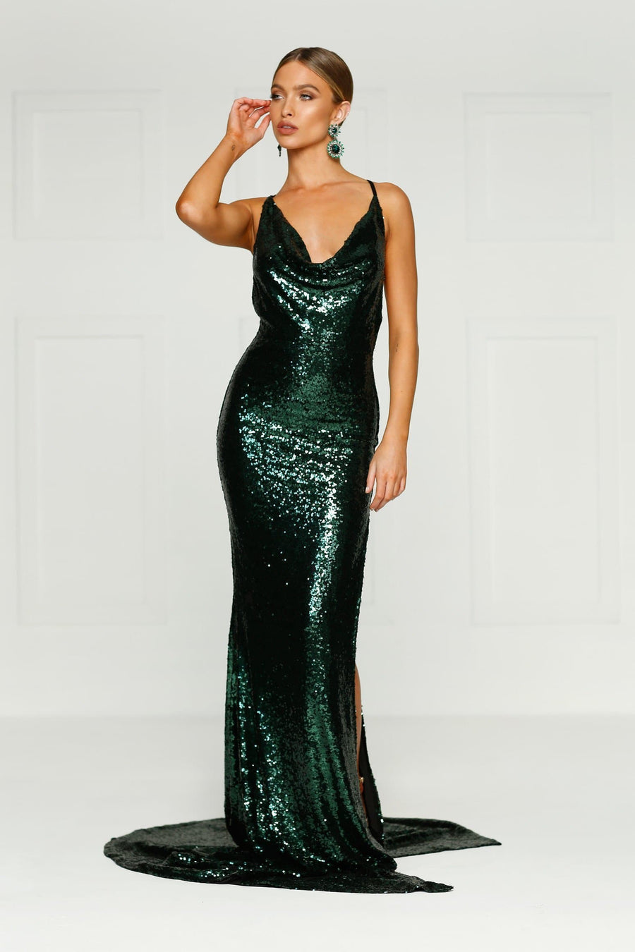 Emerald Sequins Evening Gown Cowl neckline side leg split, plunging back Alamour The Label