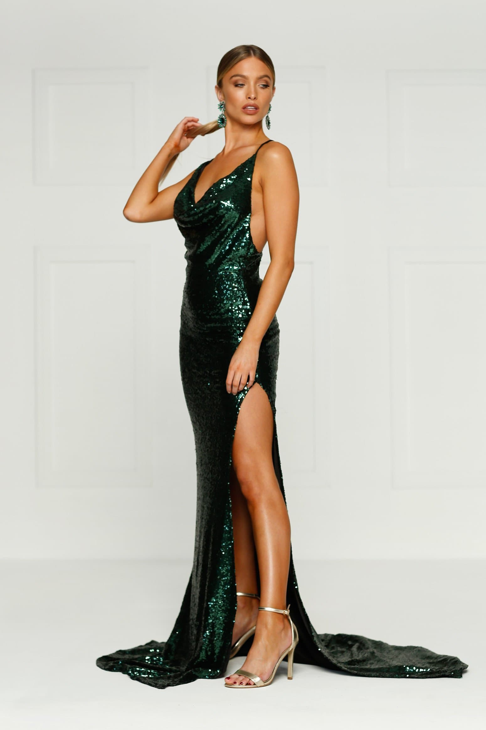 Andriana - Emerald Sequin Gown | Cowl Neckline, Low Back & Side Slit