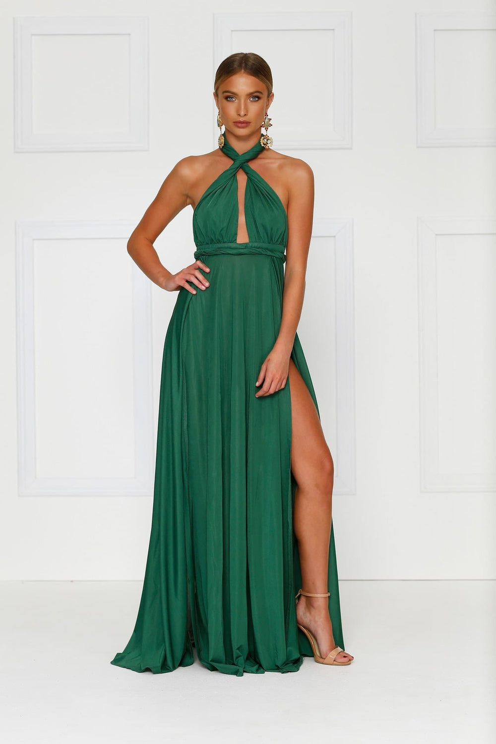 Catalina - Emerald Backless Jersey Gown with Plunge Neck & Side Slits