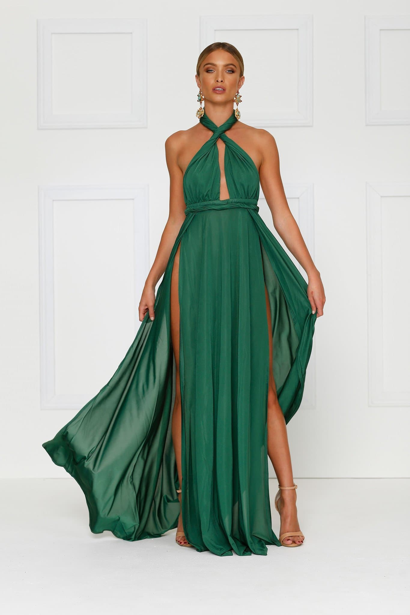 Catalina Emerald multi way maxi dress for bridesmaid, formal or prom available online