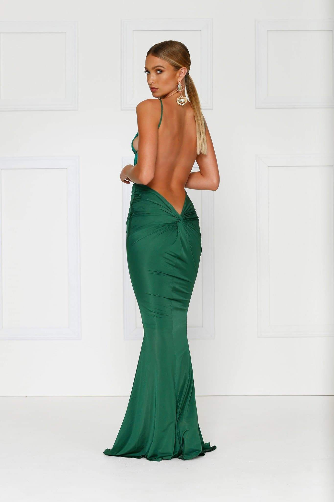 Penelope Luxe - Emerald Backless Dress with Back Knot Design